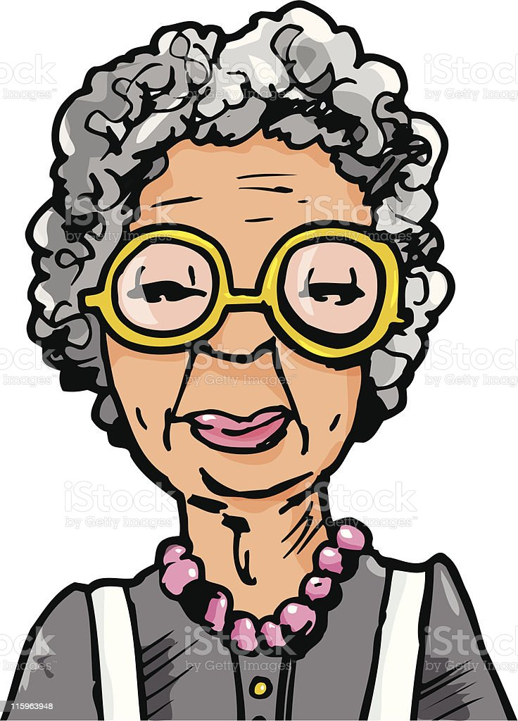 Cartoon old lady with big glasses vector art illustration