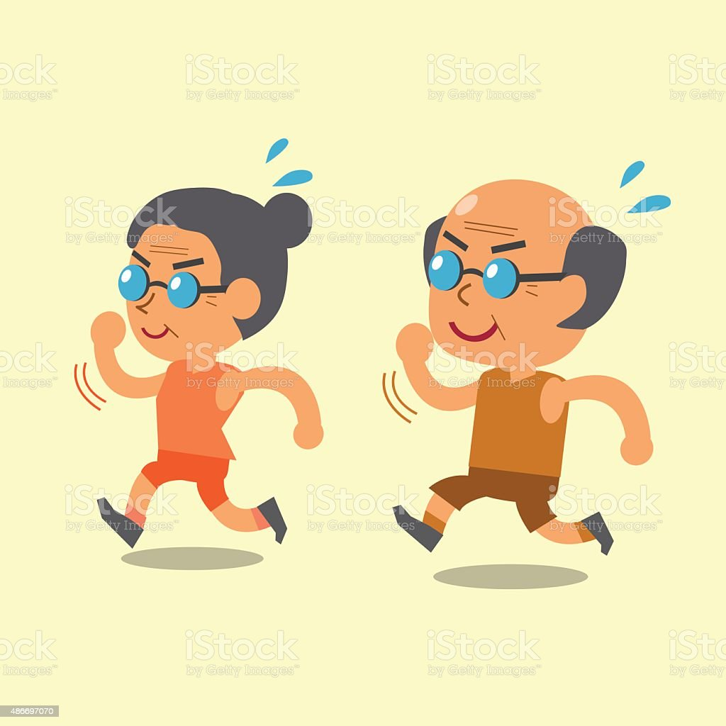 Cartoon old man and old woman running together vector art illustration