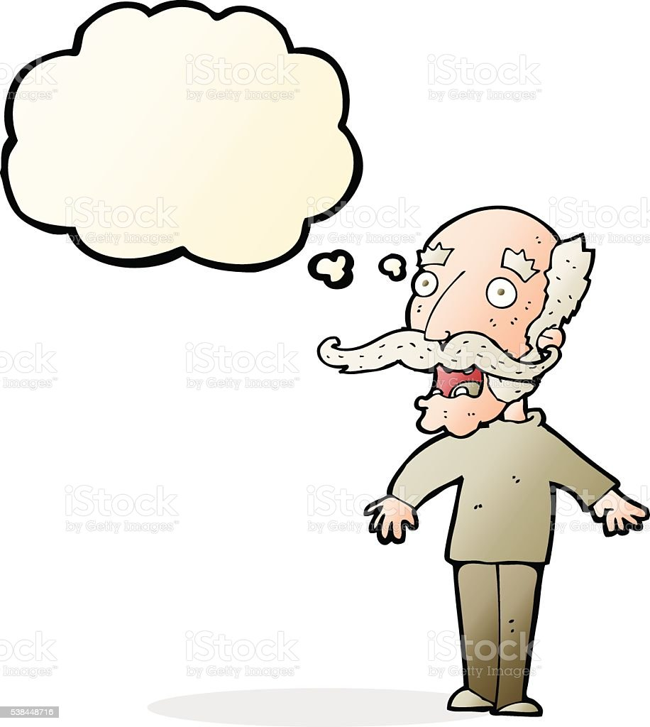 cartoon old man gasping in surprise with thought bubble vector art illustration