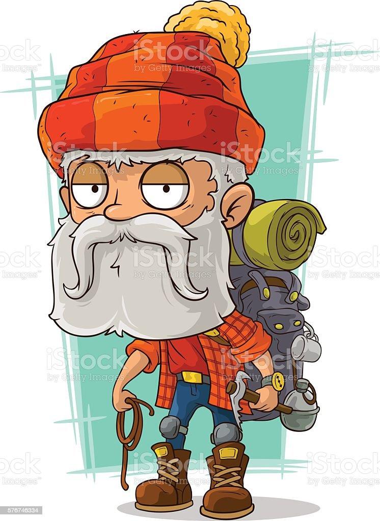 Cartoon old tired bearded climber vector art illustration