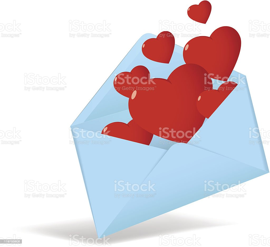 Cartoon opened envelope with red valentine heart royalty-free stock vector art