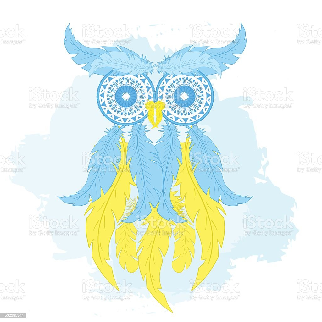 cartoon owl from hand drawn feather and mandala vector art illustration
