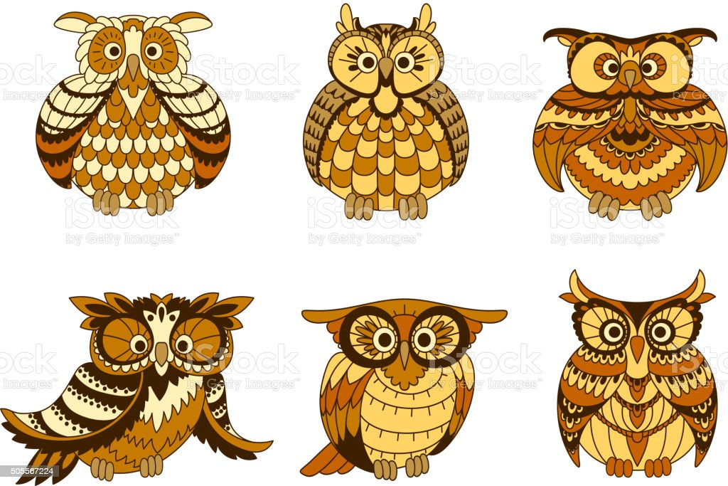 Hiboux de dessin anim avec le marron et orange plumage - Orange dessin ...