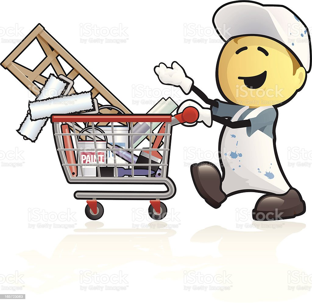 Cartoon painter and decorater shopping vector art illustration