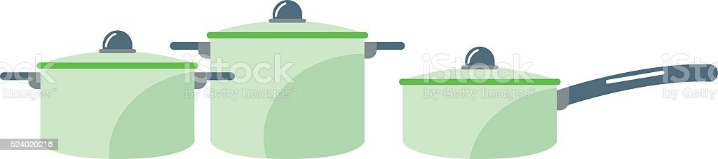 Cartoon pan cooking steel home kitchen equipment pot vector illustration vector art illustration