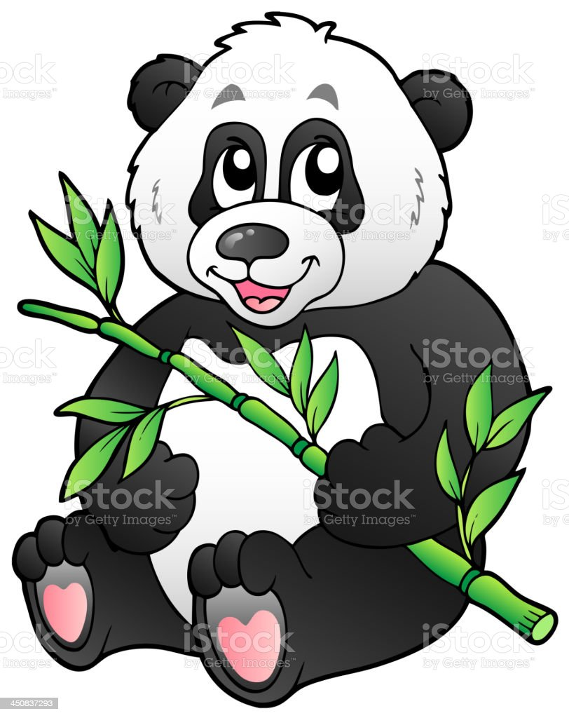 Cartoon panda eating bamboo royalty-free stock vector art