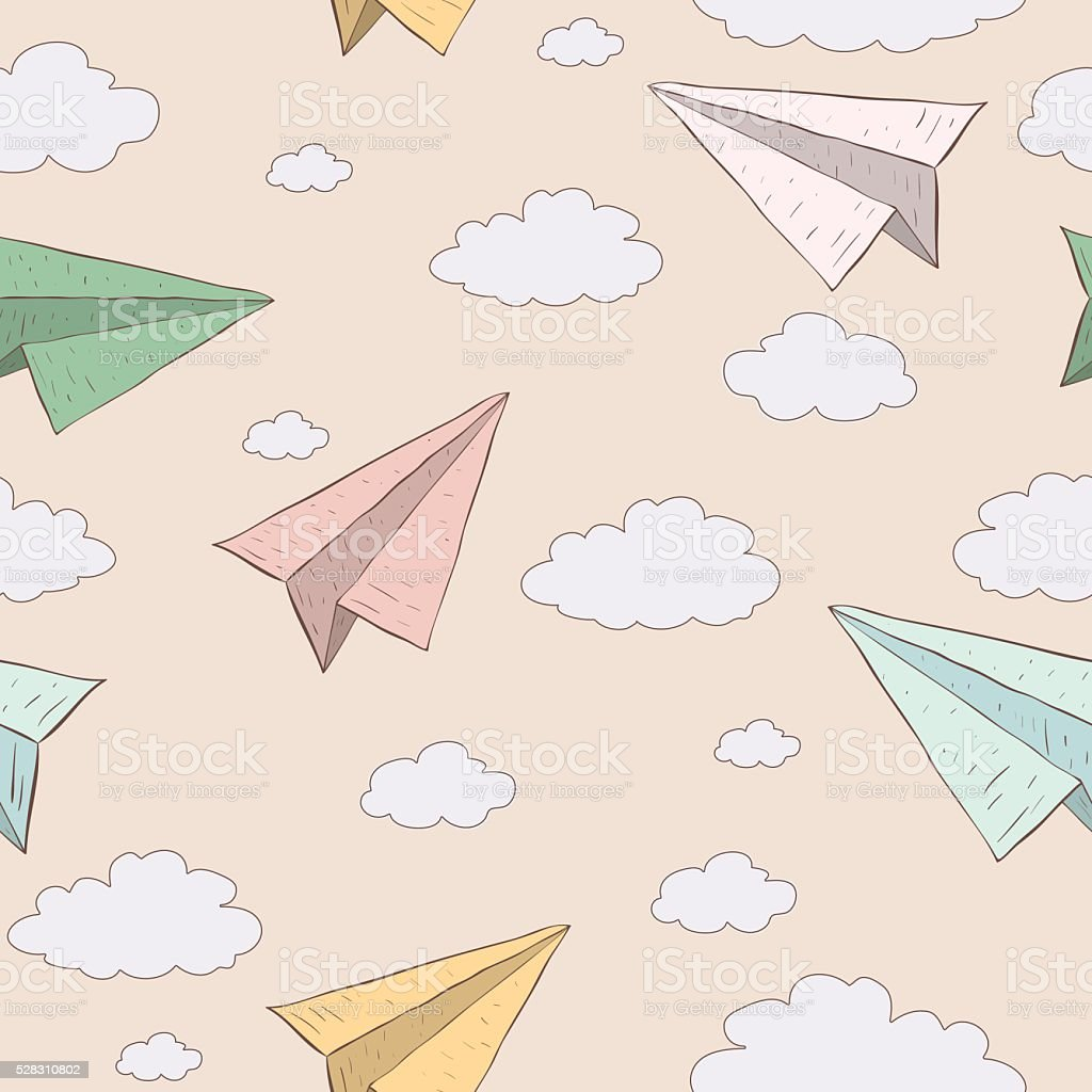 Cartoon paper plane in the sky. Vector seamless baby pattern. vector art illustration