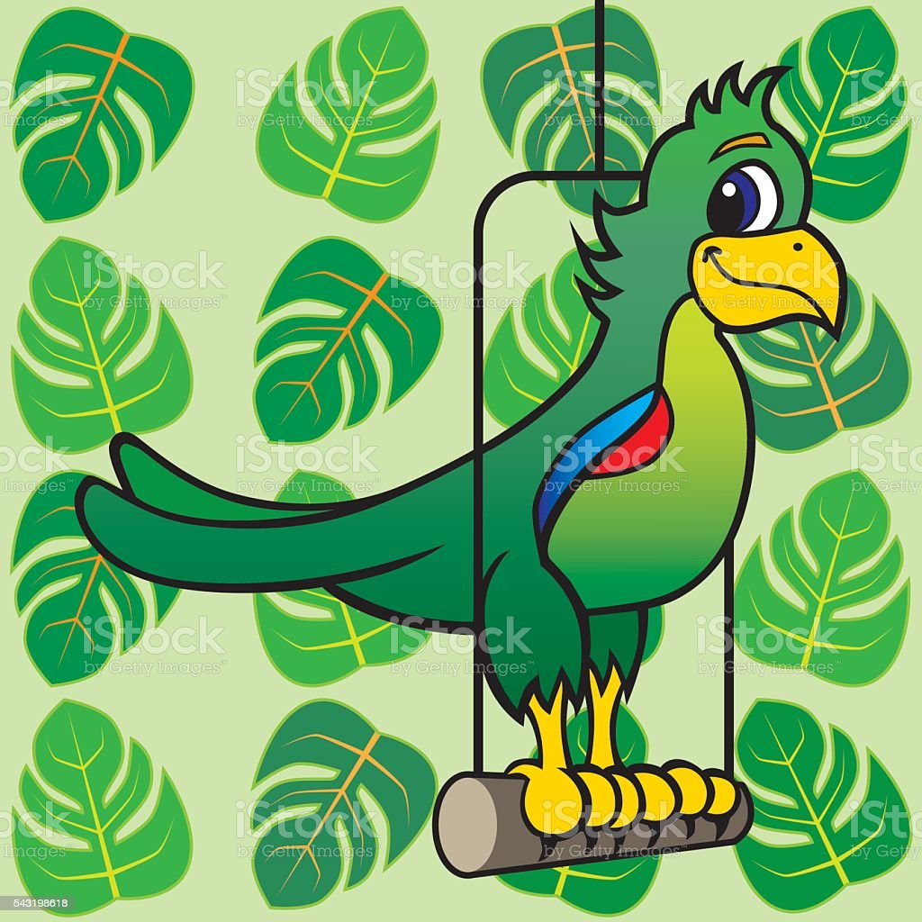 Cartoon parrot with leaves vector art illustration