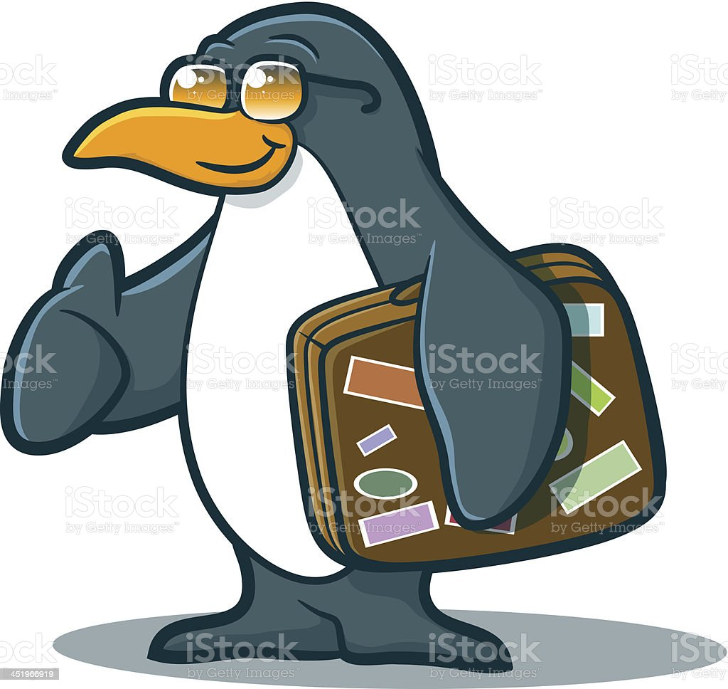 Cartoon Penguin with a Suitcase vector art illustration