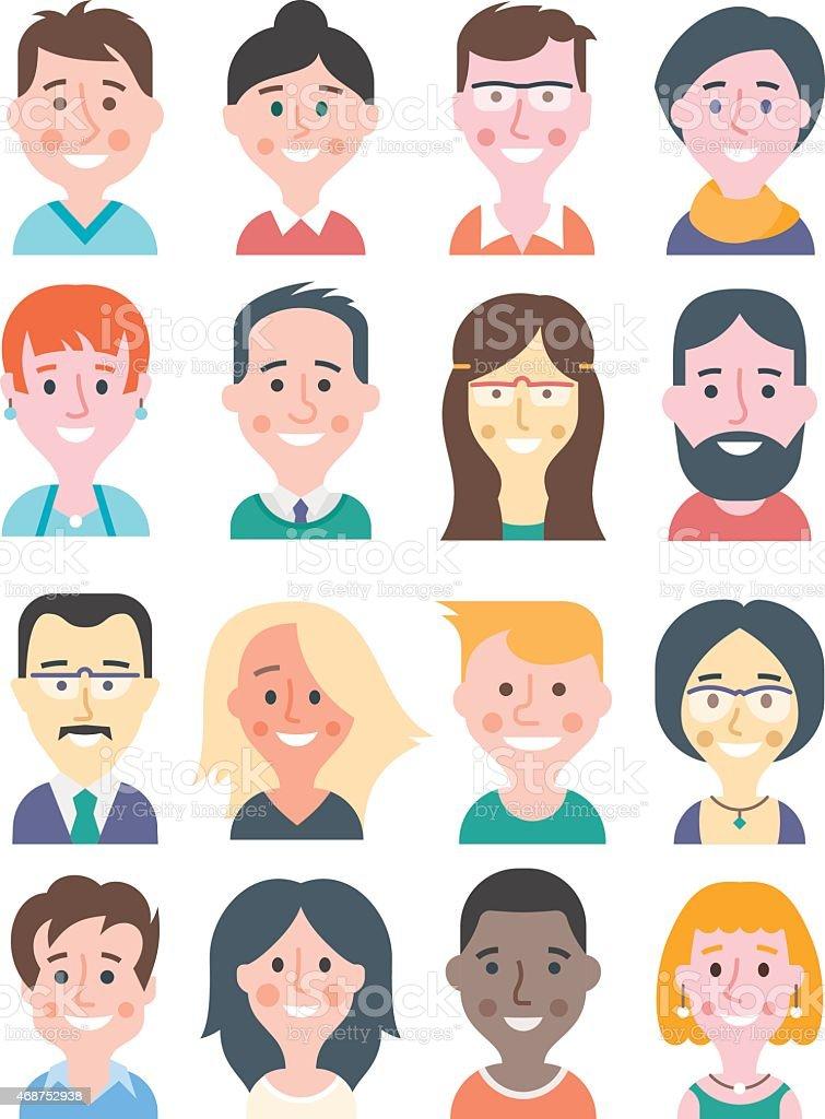 Cartoon People Avatars vector art illustration