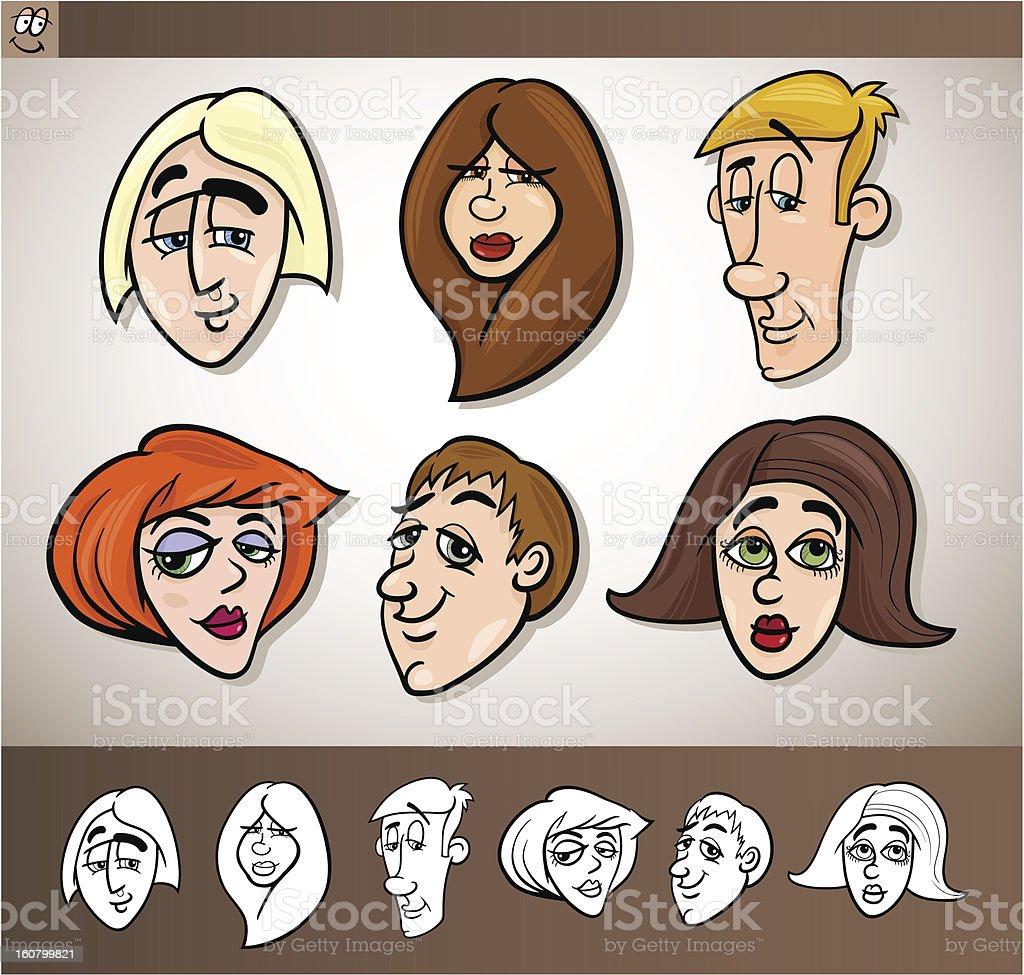 cartoon people heads set illustration royalty-free stock vector art