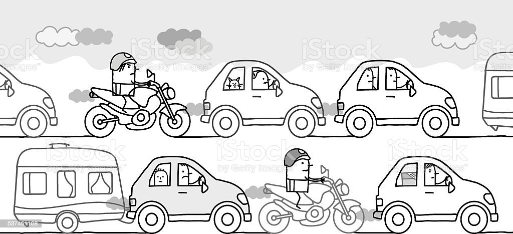 cartoon people in a polluted traffic jam vector art illustration