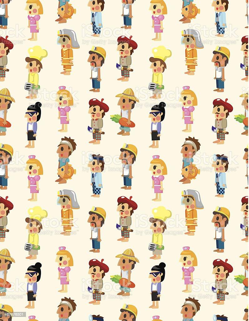 cartoon people job seamless pattern vector art illustration
