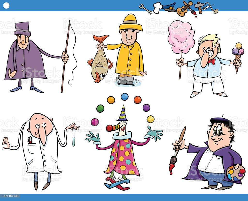cartoon people occupations characters set vector art illustration