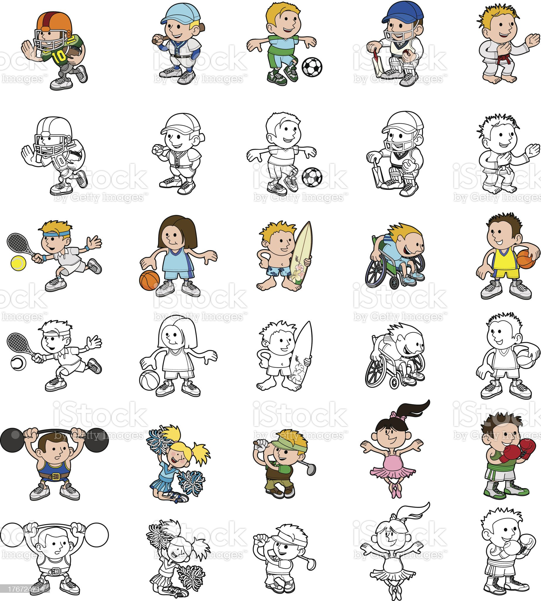 Cartoon people playing sports royalty-free stock vector art