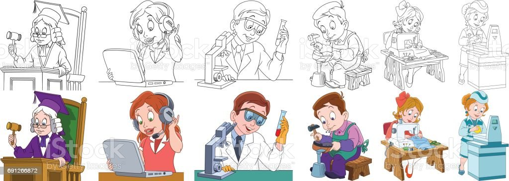 Cartoon working people set. Collection of professions. Judge,...