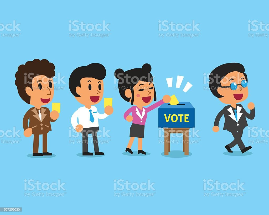 Cartoon people putting voting paper in the ballot box vector art illustration