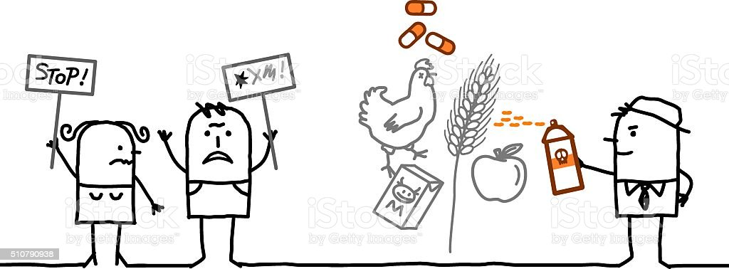 cartoon people saying NO to chemicals in food industry vector art illustration