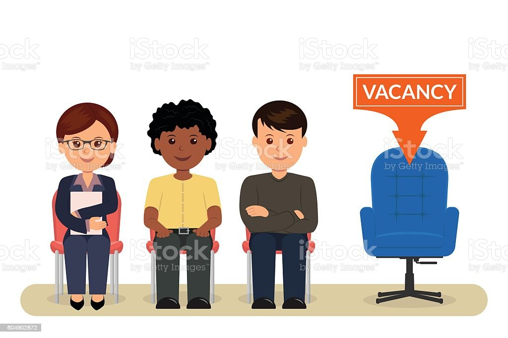 Cartoon people sitting on chairs awaiting an interview for employment. vector art illustration