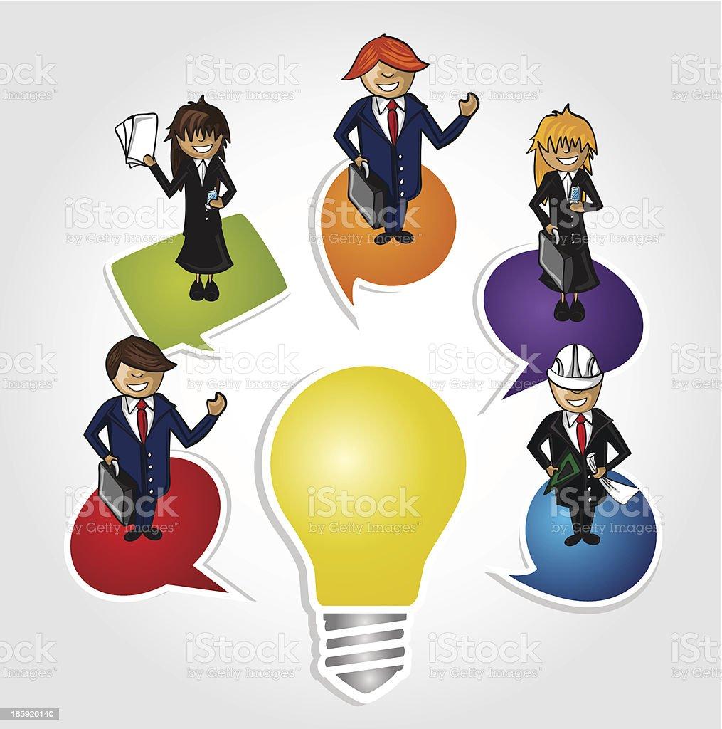 Cartoon people with social media bubble over idea light bulb. royalty-free stock vector art
