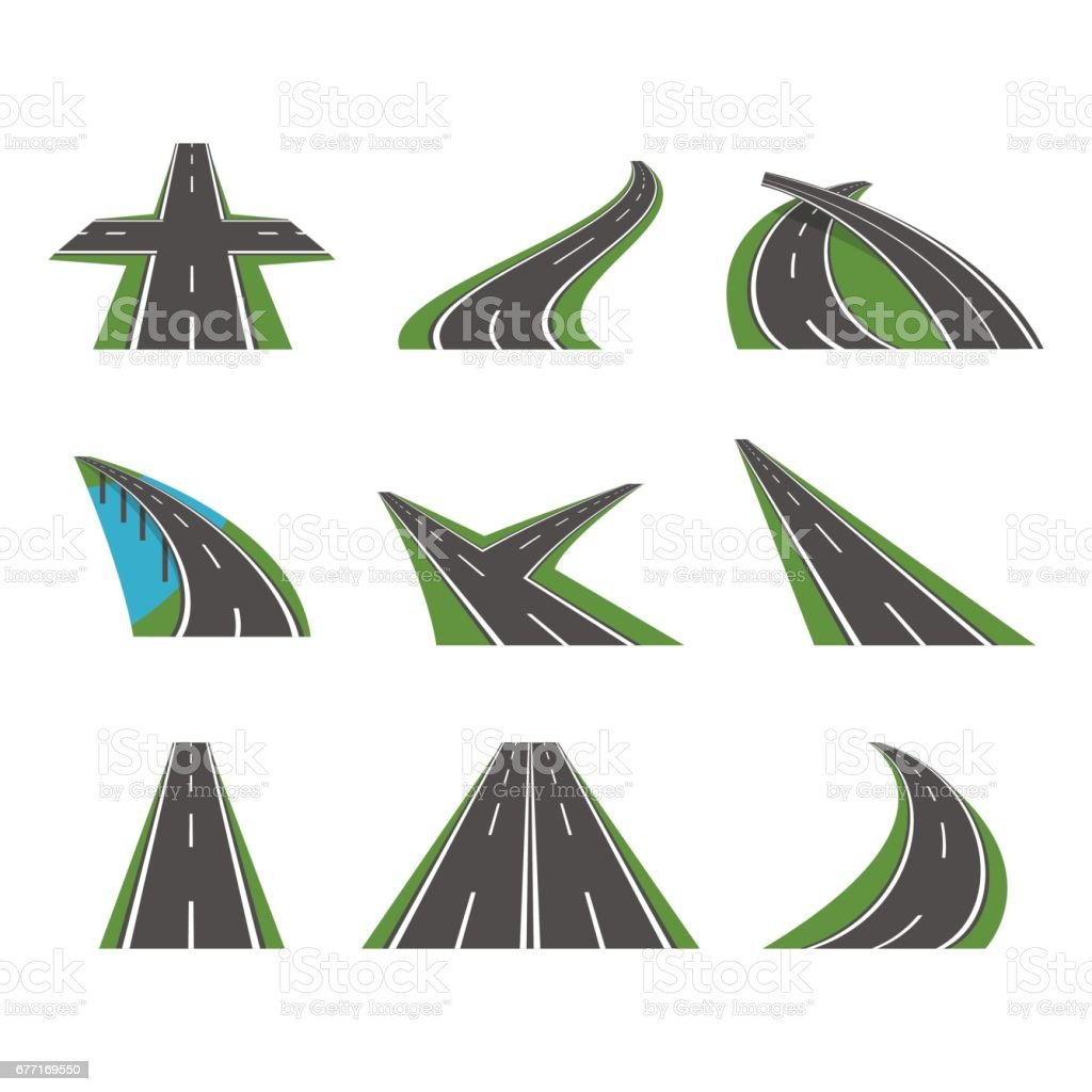 Cartoon Perspective Curved Road Icons Set. Vector vector art illustration