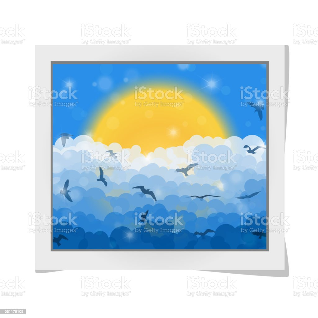 Cartoon photo frame with flying birds in clouds on sun and blue shining sky background. Vector illustration vector art illustration