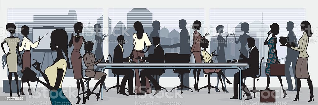 Cartoon picture of a crowded business meeting royalty-free stock vector art