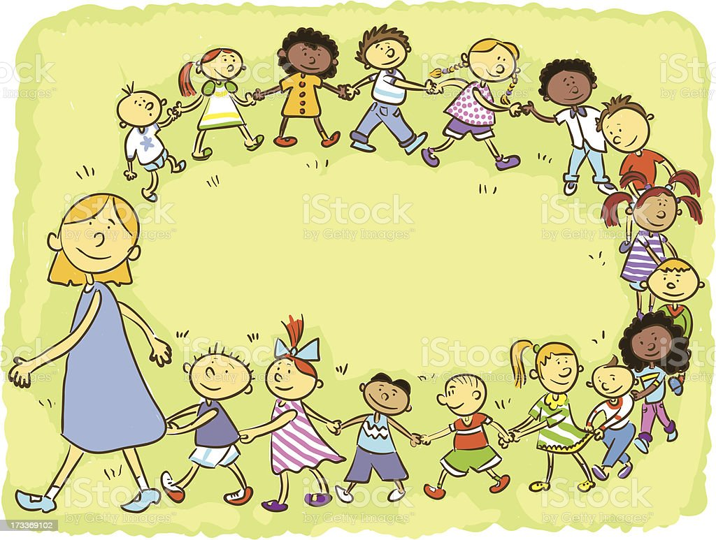 cartoon picture of a group of children being led by free printable springtime clipart April Showers Clip Art Free