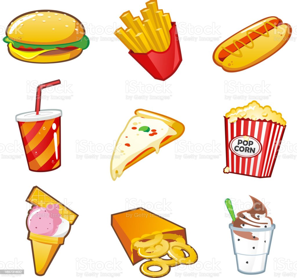 Cartoon pictures of fast food items vector art illustration