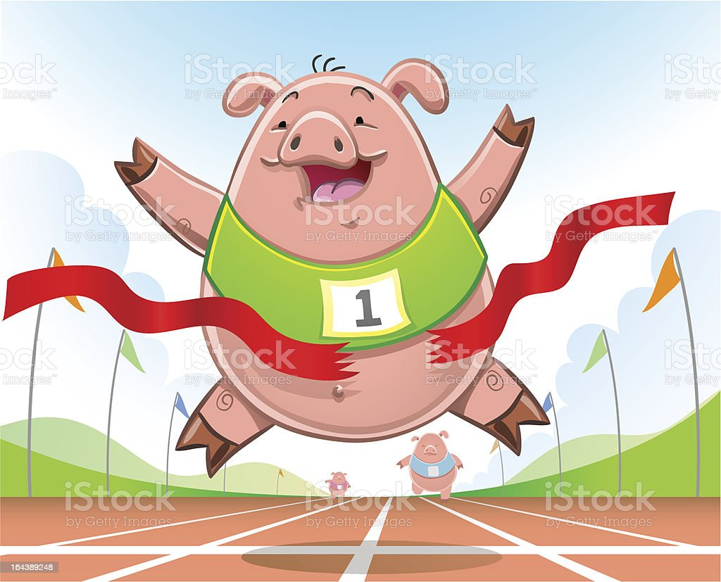 Cartoon pig crossing the finish line on an athletics track royalty-free stock vector art