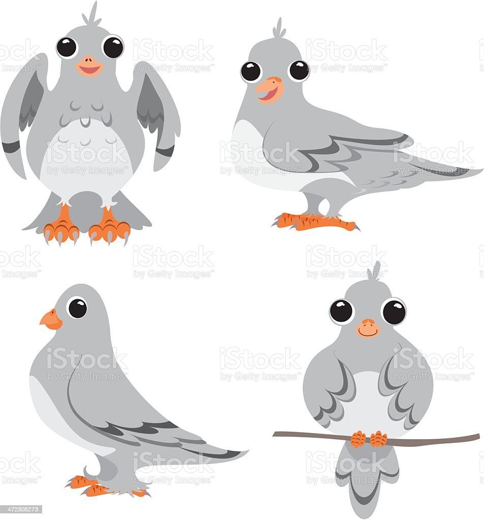 Cartoon pigeons vector art illustration