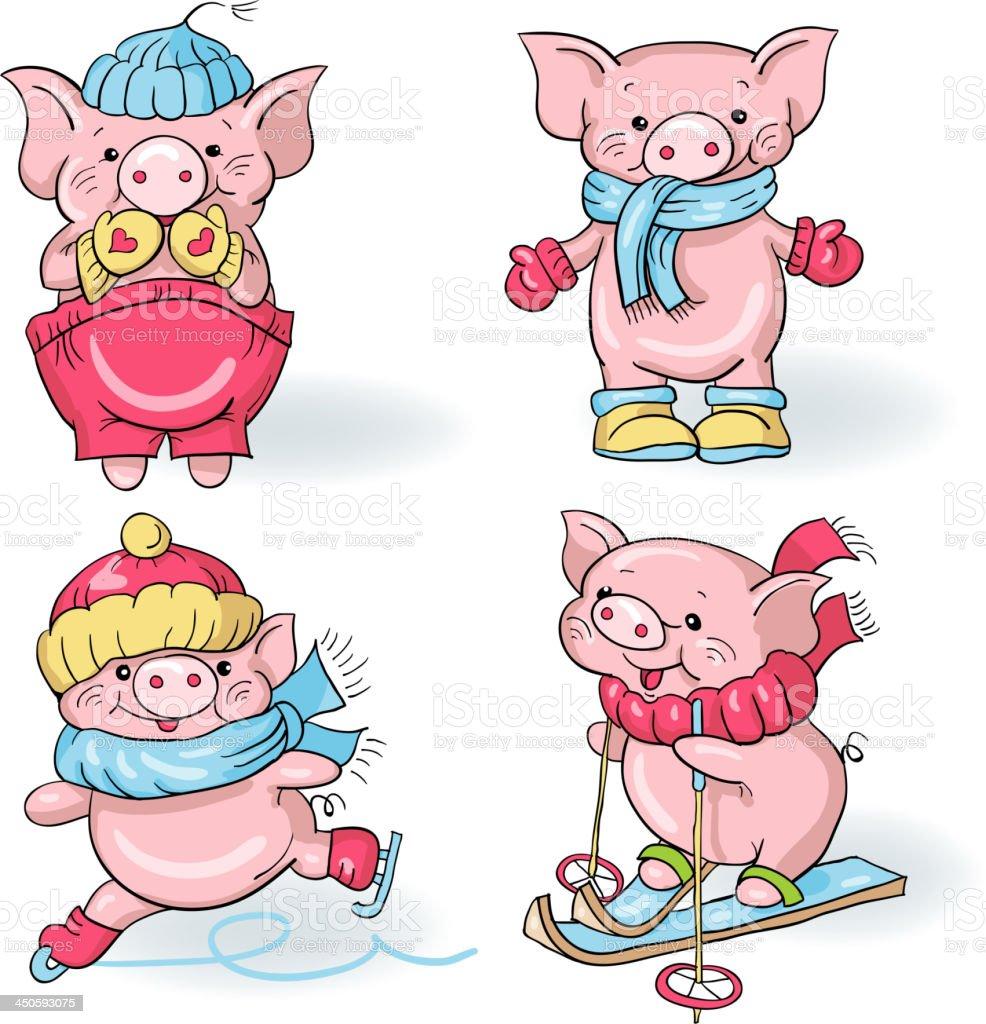 Cartoon pigs vector art illustration