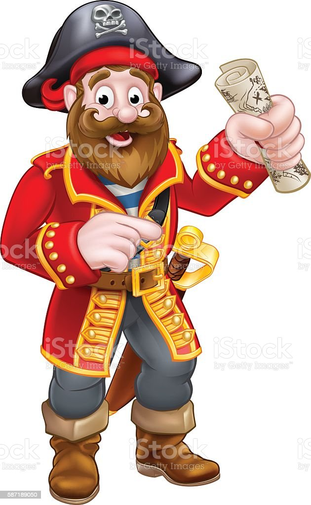 Cartoon Pirate Captain vector art illustration