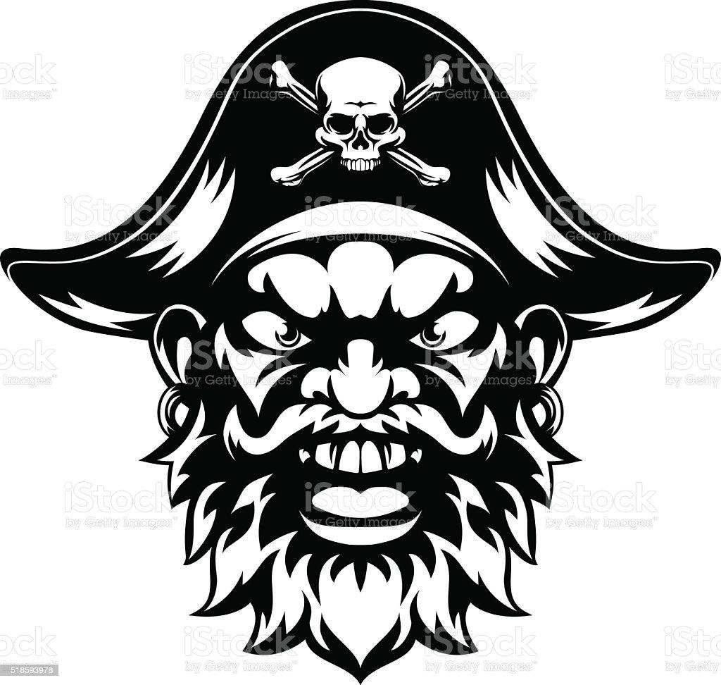 Cartoon Pirate Mascot vector art illustration