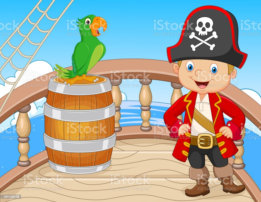 Cartoon pirate on the ship with green parrot vector art illustration