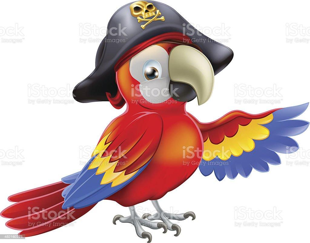 Cartoon pirate parrot royalty-free stock vector art