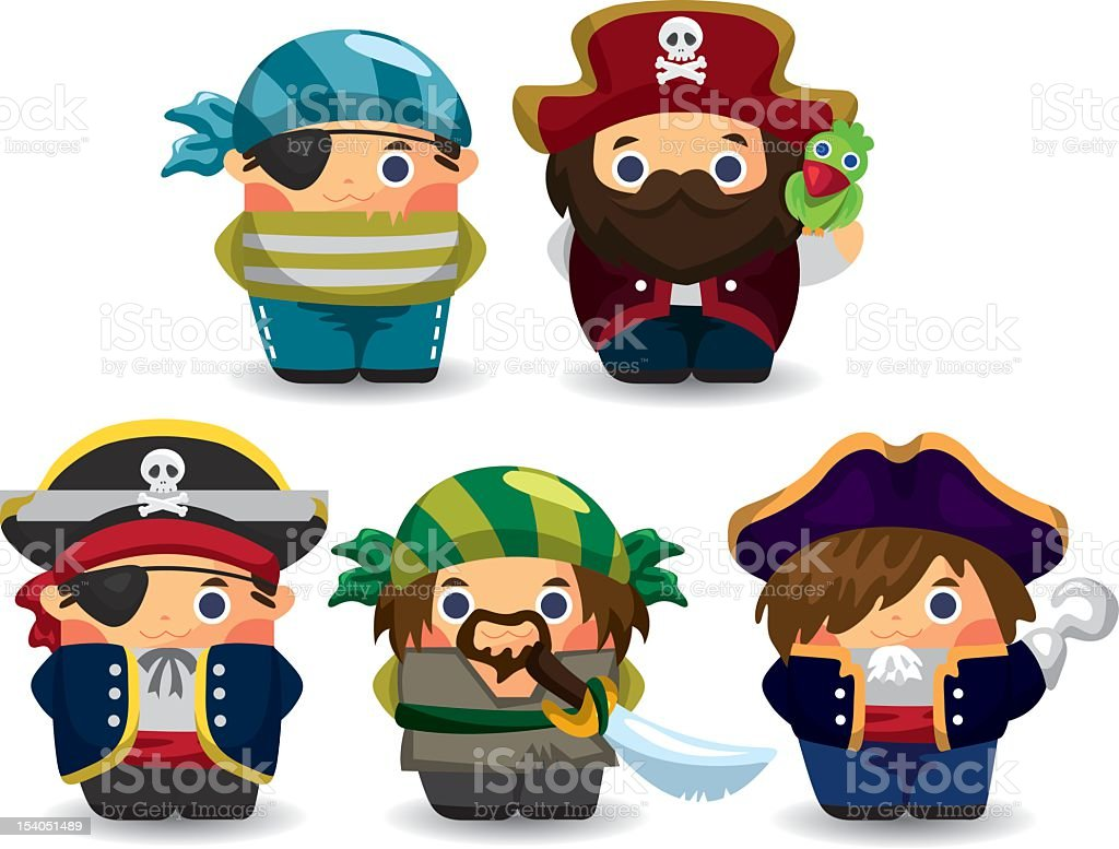 cartoon pirate people set stock photo