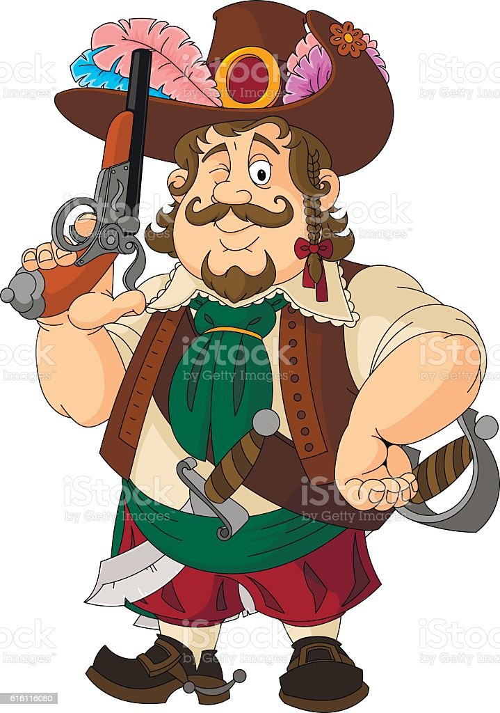Cartoon pirate, sailor, a robber. The image of a pirate set. vector art illustration