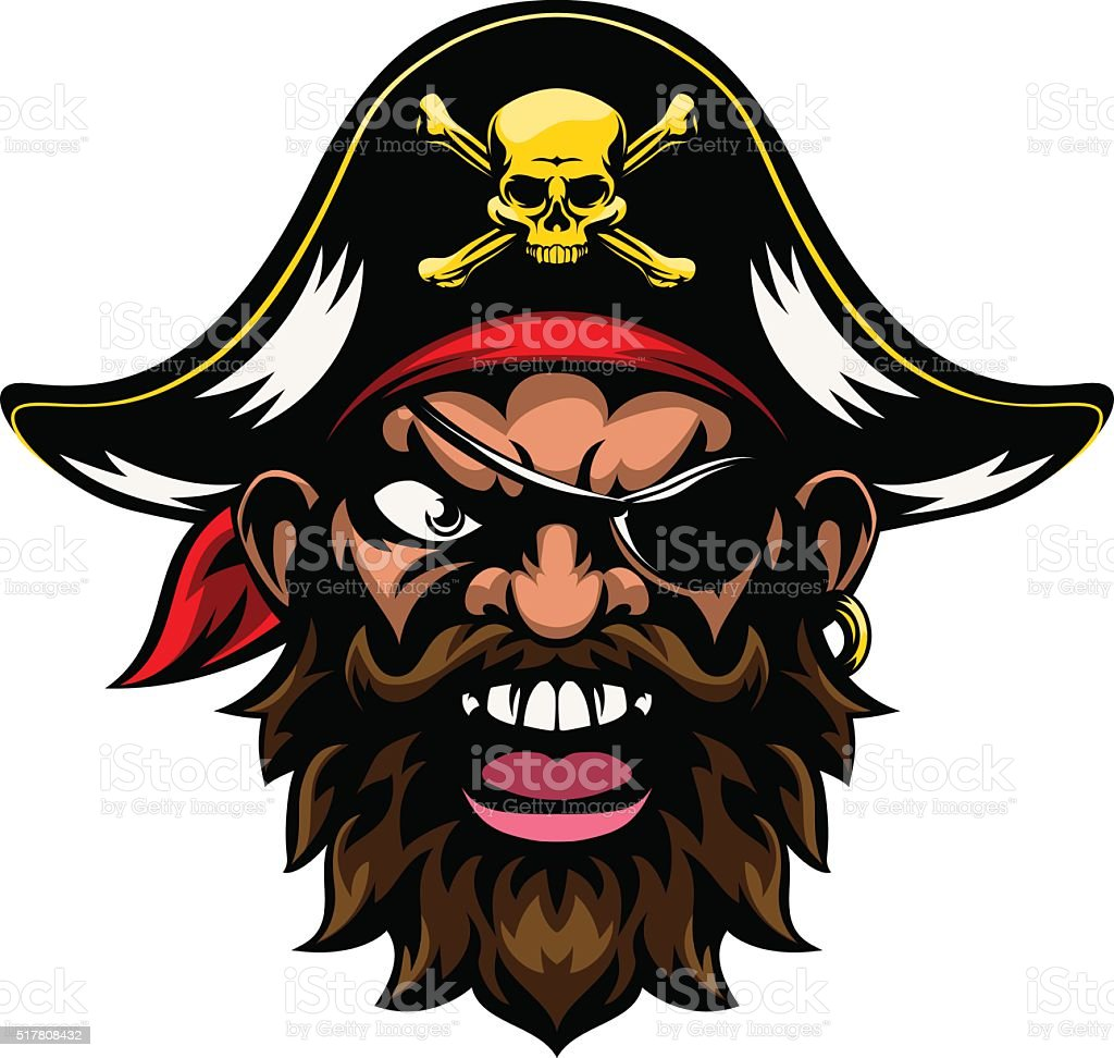 Cartoon Pirate Sports Mascot vector art illustration