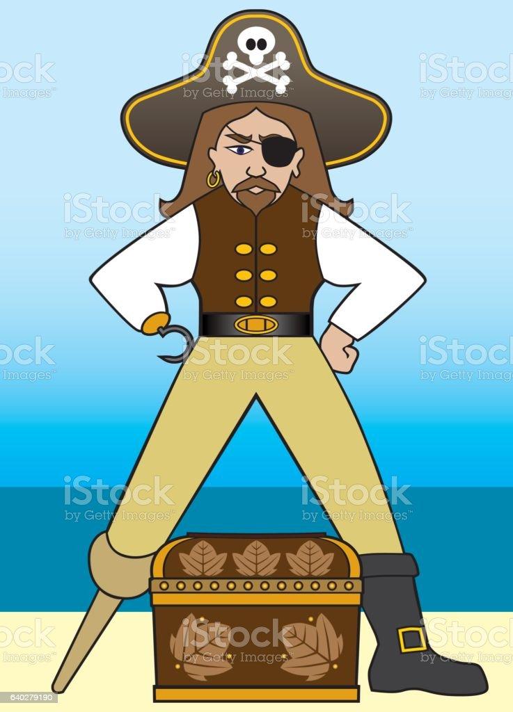 Cartoon Pirate With Treasure vector art illustration