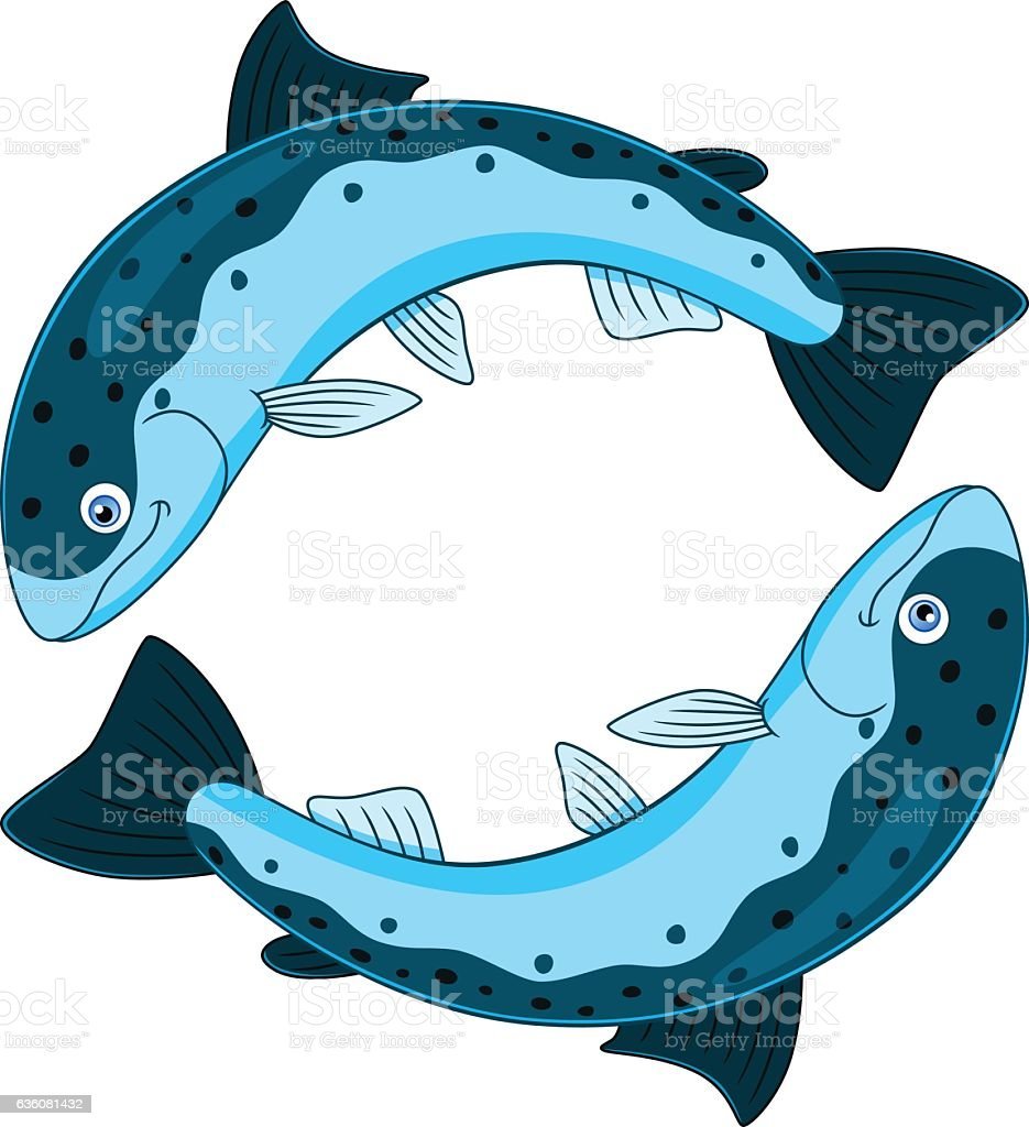Cartoon pisces vector art illustration