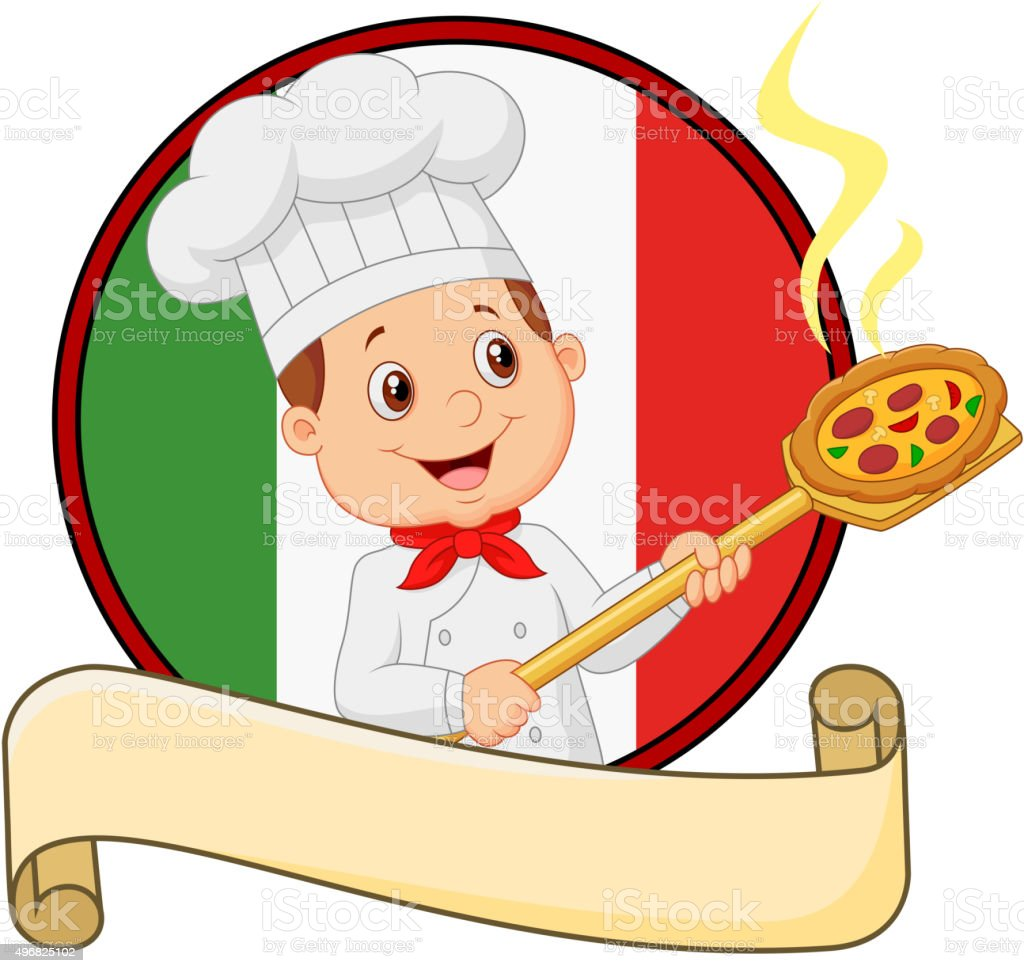 Cartoon pizza chef holding a pizza loading peal vector art illustration