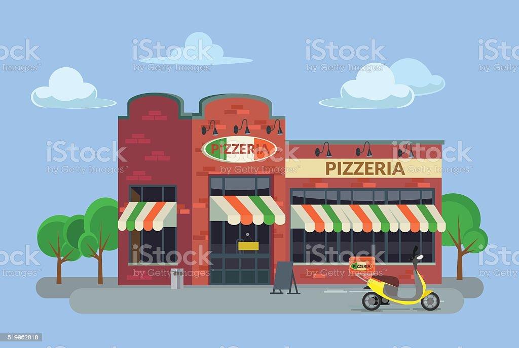 Cartoon pizzeria. Vector flat illustration vector art illustration