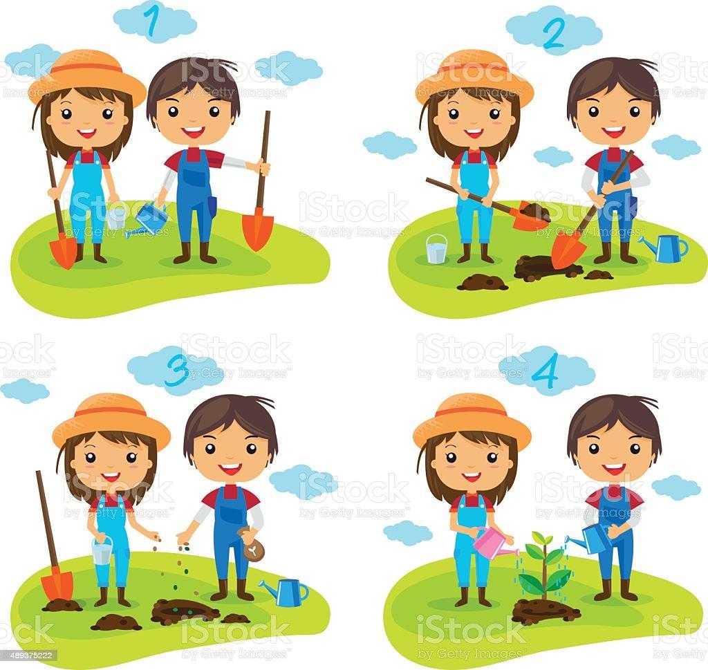 cartoon planting tree process royalty-free stock vector art