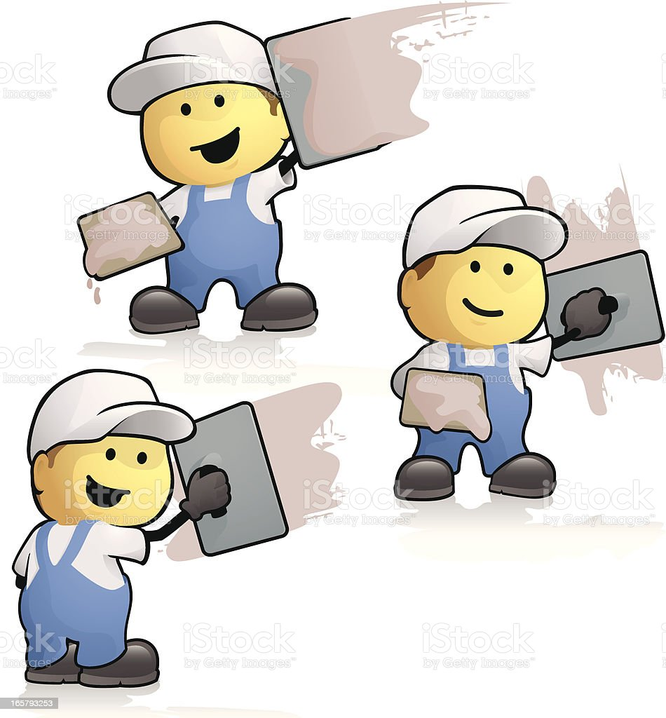 Cartoon plasterers vector art illustration