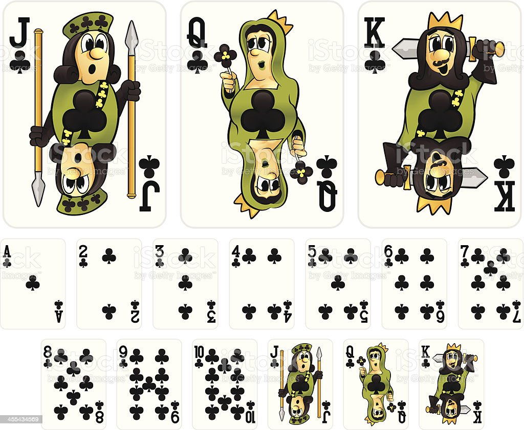 Cartoon Playing Cards - Clubs Suit vector art illustration