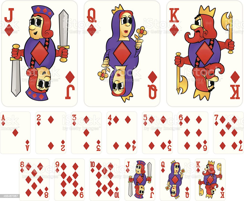 Cartoon Playing Cards - Diamonds Suit vector art illustration