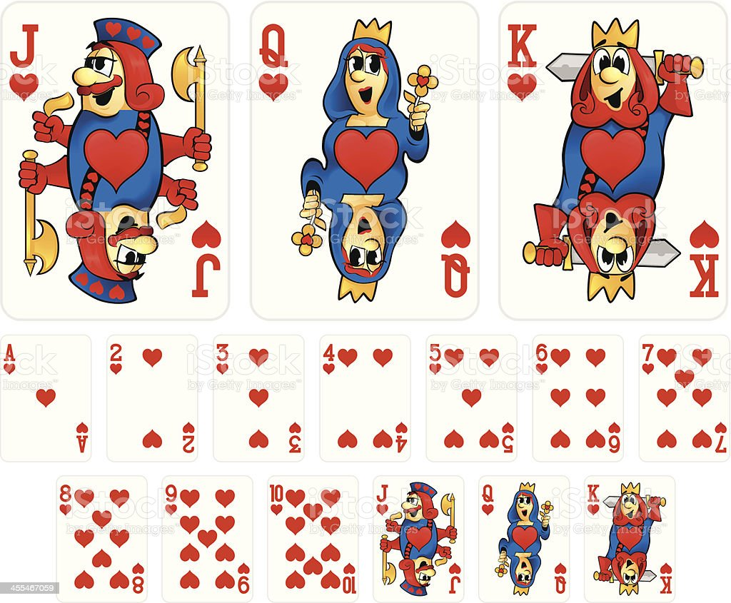 Cartoon Playing Cards - Hearts Suit vector art illustration
