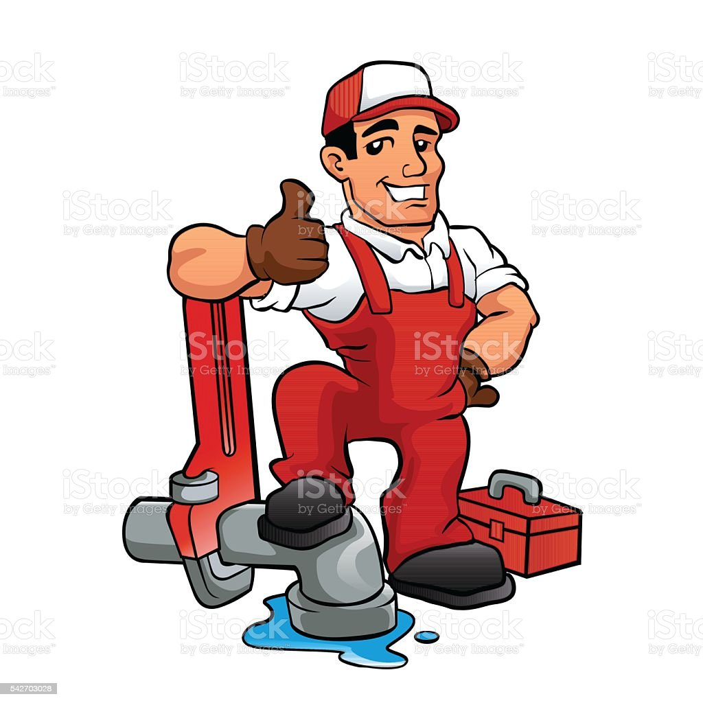 Cartoon plumber holding a big wrench. vector art illustration