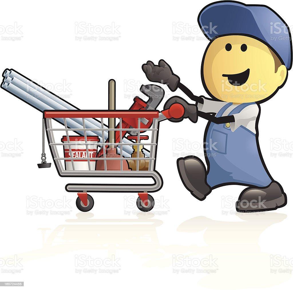 Cartoon plumbing supplies shopping royalty-free stock vector art